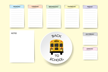 Back to school weekly planner with free place for your notes on light yellow background.