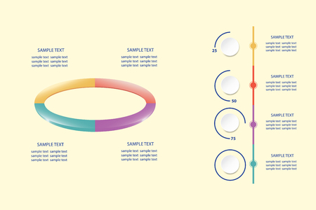 Infographic of colorful ellipse divided into 4 parts showing process and steps. The vertical timeline is ready to show quarterly performance developments.