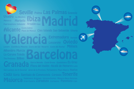 Travel Spain template vector showing the plane, car, train and ship approaching the blind Spanish map. Transparent names of Spamish landmarks are on the left of the vector.