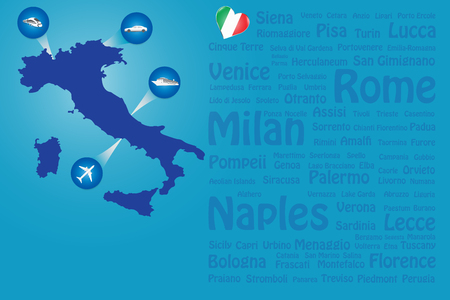 Travel Italy template vector showing the plane, car, train and ship approaching the blind Italian map. Transparent names of Italian landmarks are on the righr side of the vector.