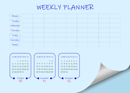School or business calendar for the fourth quarter of 2019  and blank weekly planner on light blue background. Vector contains page curl effect with a place for your text in an exposed corner. Ilustração