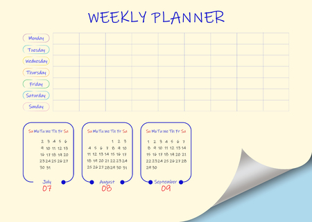 School or business calendar for the third quarter of 2019  and blank weekly planner on light yellow background. Vector contains page curl effect with a place for your text in an exposed corner. Ilustração