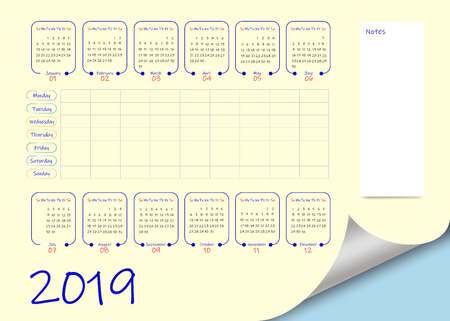 School or business calendar for the 2019 year  and blank weekly planner on light yellow background. Vector contains page curl effect with a place for your text in an exposed corner. Ilustração