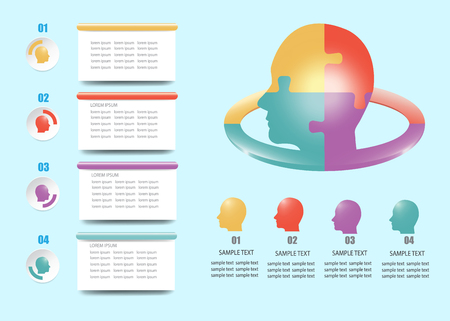 Modern infographic of puzzle head with four color numbered heads ready for your text under the head. Four rectangle labels ready for your text are in the left side of the vector. Standard-Bild - 122662852
