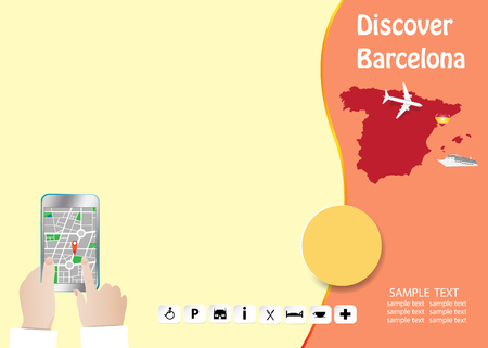 Discover Barcelona concept  template. Tourist hands are holding a smart phone showing city map in the empty left side of the vector. All potential trademarks are removed. Standard-Bild - 122662850