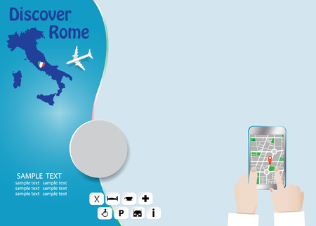 Discover Rome concept with plane flying over map of Italy. Tourist hands are holding a smart phone showing city map in the empty right side of the vector. All potential trademarks are removed. Standard-Bild - 122662853