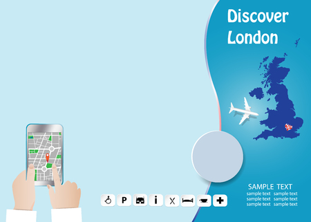 Discover London concept with plane flying over map of Great Britain. Tourist is holding a smart phone showing city map in the empty left side of the vector. All potential trademarks are removed. Standard-Bild - 122662857