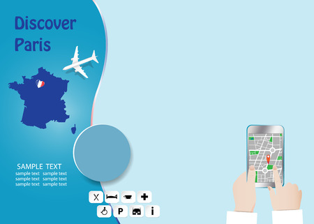 Discover Paris concept with plane flying over map of France. Tourist hands are holding a smart phone showing city map in the empty right side of the vector. All potential trademarks are removed. Standard-Bild - 122662854