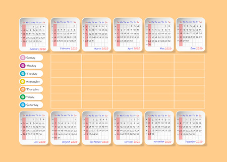 Calendar for 2020 with weekly planner in the center of the vector. Week starts Sunday. Stock Photo