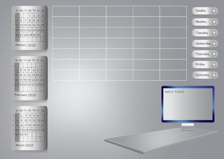 Weekly planner for first quarter of 2020 year on metallic sheets with chart and PC screen for main tasks standing on 3d gray desk. All potential trademarks are removed. 스톡 콘텐츠