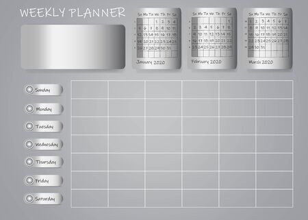 Calendar for first quarter of 2020 year with weekly planner chart and blank label for notes on metallic sheets. Week start Sunday.