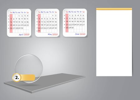 Calendar for second quarter of 2020 year on 3d table with blank label for notes and main tasks. All on the gray light background.