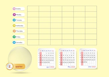 Calendar for second quarter of 2020 year with weekly planner chart and blank label for notes and main tasks. Week start Sunday.