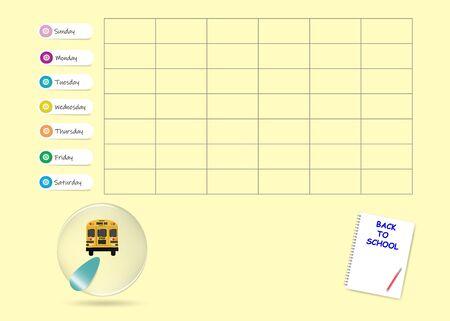 School bus weekly planner template on yellow background. Week start Sunday.