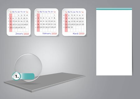 Calendar for first quarter of 2020 year on 3d table with blank label for notes and main tasks. All on the gray light background. 写真素材