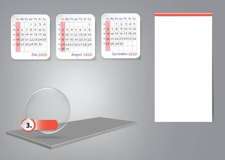 Calendar for third quarter of 2020 year on 3d table with blank label for notes and main tasks. All on the gray light background. Фото со стока - 129545272