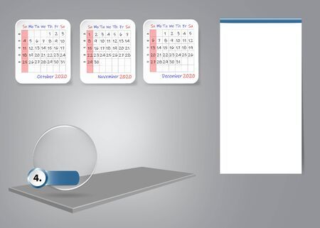 Calendar for fourth quarter of 2020 year on 3d table with blank label for notes and main tasks. All on the gray light background.