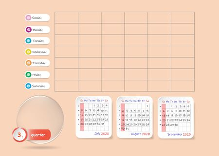 Calendar for third quarter of 2020 year with weekly planner chart and blank label for notes and main tasks. Week start Sunday.