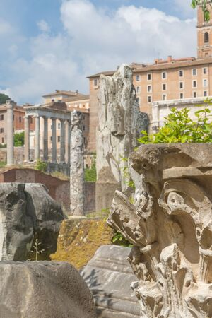 Ruins of  Forum Romanum. Pillars and ruins of base of the ancient Saturn Temple are in the background. Rome.Italy. Vertically.