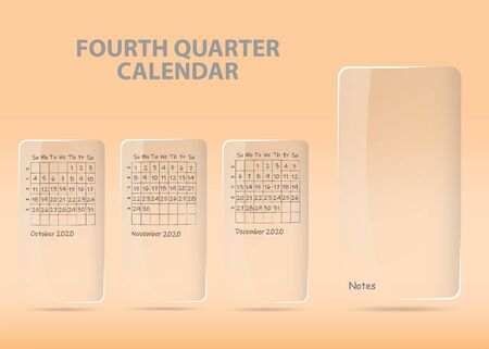 Calendar for fourth quarter of 2020 year on transparent labels ready for your notes. All on the orange gradient light background. Фото со стока