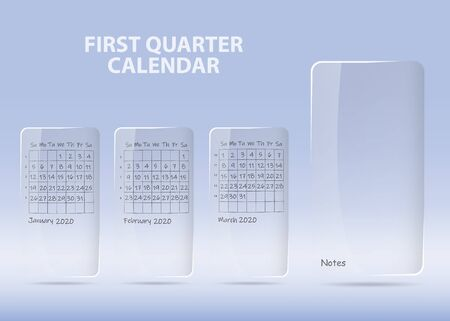 Calendar for first quarter of 2020 year on transparent labels ready for your notes. All on the blue gradient light background. 스톡 콘텐츠