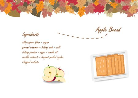 Top view of the apple bread on a white plate. Next to the apple bread  is a list of ingredients for cooking. The top edge of the vector is made by colorful autumnal leaves.