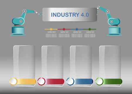 Industrial infographics vector by four blank transparent rectangles with color metal labels  ready for your text.  Top edge of the vector forms two robots holding inscriprion Industry 4.0. Фото со стока