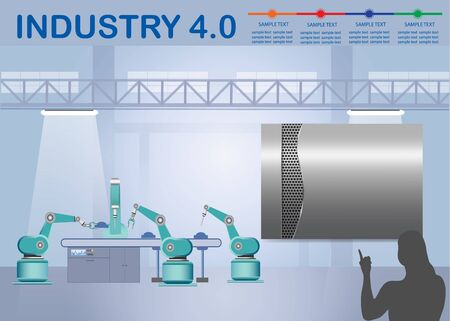 Industry 4.0 Smart factory concept showing color timeline and robots working on assembly line in factory interior. Silhouette of woman is pointing on empty metal label ready for your text. Фото со стока