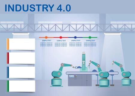 Industry 4.0 Smart factory concept showing color timeline, four blank white labels and robots working on assembly line in factory interior.