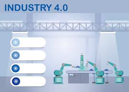 Industry 4.0 Smart factory concept showing robots working on assembly line in factory interior. Empty infographic white labels in blue shades are ready for your text. Фото со стока