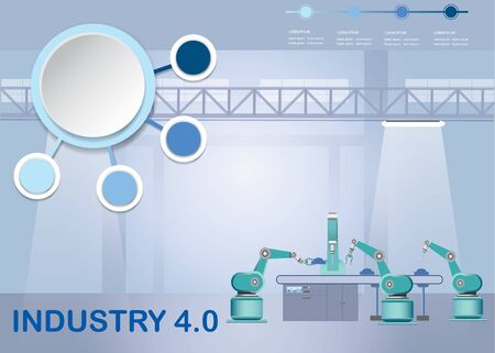 Industry 4.0 Smart factory concept showing robots working on assembly line in factory interior. Empty infographic circles are ready for your text.