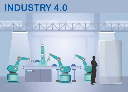 Industry 4.0 Smart factory concept showing robots working on assembly line in factory interior. Silhouette of man is standing next to the glass rectangle ready for your text. Фото со стока