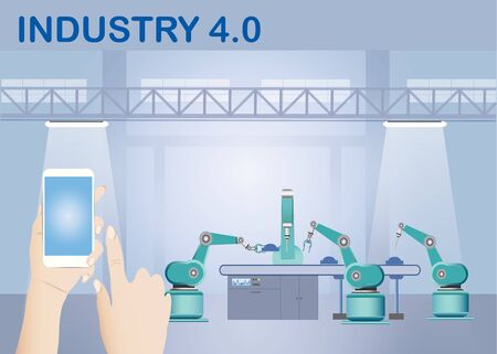 Industry 4.0 Smart factory wireless connection concept showing robots working on assembly line in factory interior and hands holding a smart phone with blank screen ready for your text.