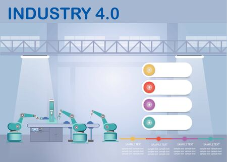 Industry 4.0 Smart factory concept showing  timeline and robots working on assembly line in factory interior. Empty infographic white labels are ready for your text.