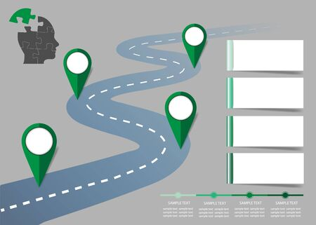 Steps of ecological growth concept  showing four green pointers lining the road, timeline and four blank labels ready for your text. Illustration