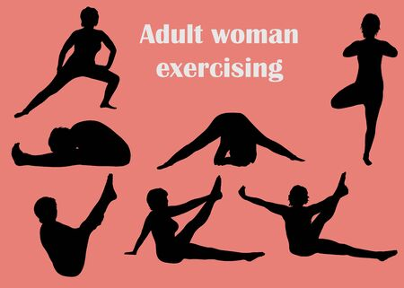 Collection of black silhouettes of adult fitness exercising woman in different positions. Archivio Fotografico - 136965402