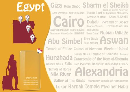 Travel to Egypt concept with map of Egypt, silhouette of tourist woman and transparent rectangle ready for your text.  Names of the most famous destinations forms background.
