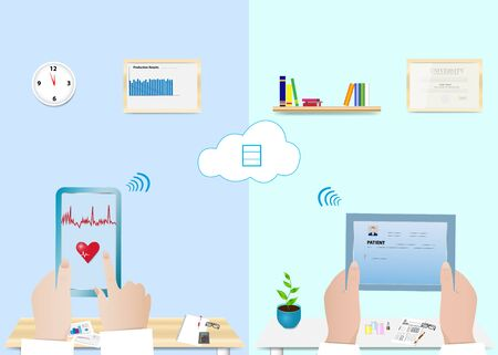 Digitization of health prevention vector divided in two halves showing connection of employee in office and doctor in medical office through cloud. All potential trademarks are removed.