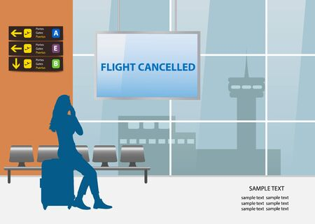 Flight cancelled air travel concept showing silhouette of young woman sitting in airport interior. Ilustración de vector