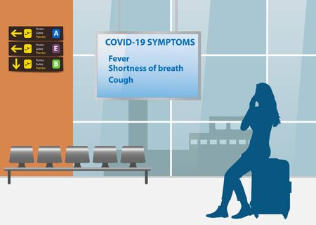 Information of COVID-19 symptoms concept showing silhouette of young woman reading an information board in airport interior.