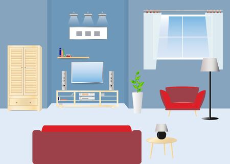 Empty living room with sofa facing TV and HI-FI set. Wooden cabinet is in the left side and armchair is under the window. Concept vector ready for your use.