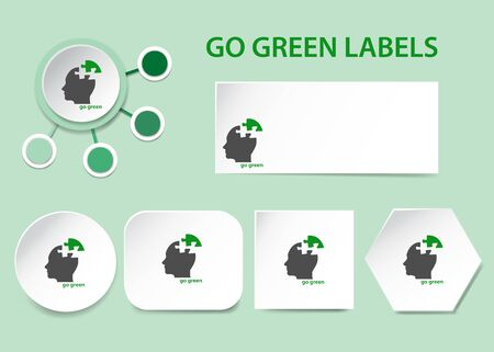 Go green business card and labels vector on the green background.  Foto de archivo