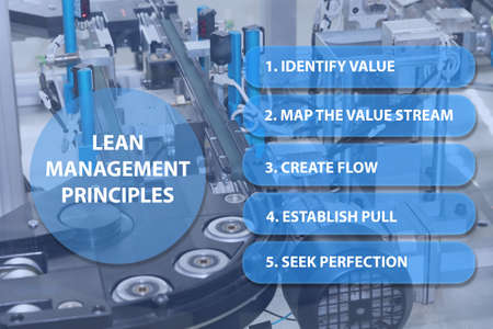 Detailed view of an empty assembly line. Lean management principles presentation is ready for your use.