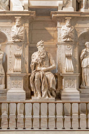 Rome, Italy – 9 May 2018: The famous statue of Moses by  Michelangelo in San Pietro in Vincoli church in Rome. Admission to the church is free. Tourists therefore do not have to pay scammers. Rome. Editorial