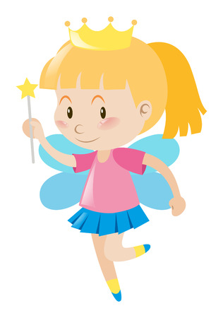 role play: Little girl dresses in fairy outfit illustration