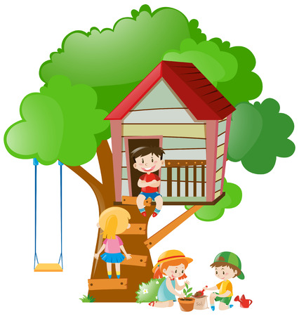 Children playing at the treehouse in garden illustration