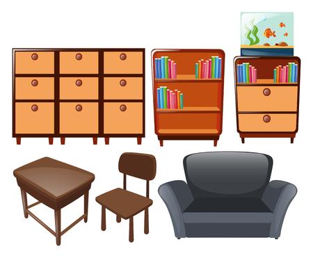 fishtank: Different types of furniture illustration Illustration