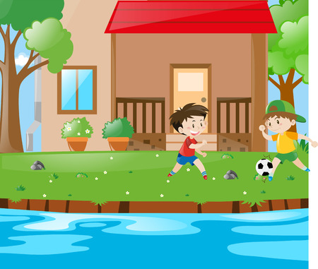 playing soccer: Scene with two boys playing soccer illustration
