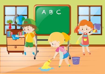 Children help cleaning classroom illustration