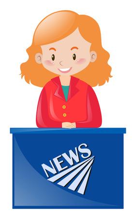 news reporter: Female news reporter at desk illustration